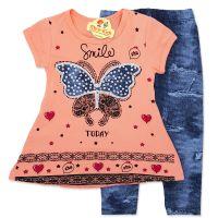 Compleu vara fetite 2-6 ani, bluza cu colanti, fluturasi, roz somon