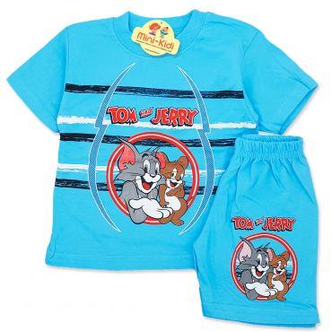 Compleu de vara copii 9 luni-4 ani, Tom&Jerry, turcoaz