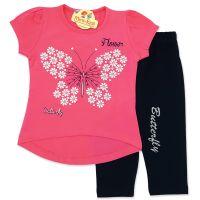 Compleu vara fetite 1-5 ani, fluturas din floricele, roz