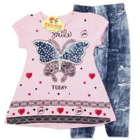 Compleu vara fetite 2-6 ani, bluza cu colanti, fluturasi, roz
