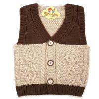 Vesta tricotata baieti 1-4 ani, model elegant, maro-bej