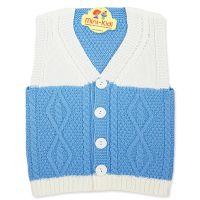 Vesta tricotata baieti 1-4 ani, model elegant, alb-bleu