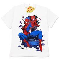 Tricou bumbac baieti 3-8 ani, Spiderman, crem