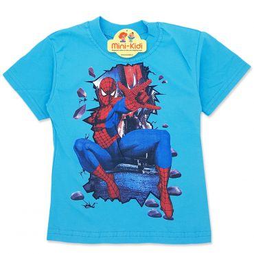 Tricou baieti 3-8 ani, Spiderman, albastru deschis