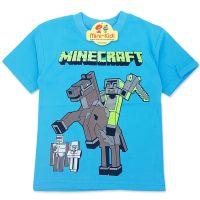 Tricou baieti 3-8 ani, Minecraft, albastru deschis