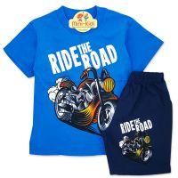 Compleu de vara copii 3-8 ani, Ride the road, albastru