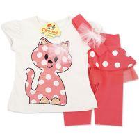 Compleu fetite 1-4 ani, bluza cu colanti si bentita, pisicuta, roz somon