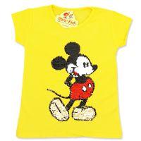 Tricou bumbac copii 1-6 ani, galben, paiete reversibile