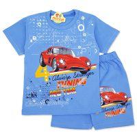 Compleu de vara copii 3-8 ani, masinuta, albastru