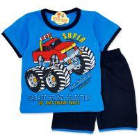 Compleu de vara copii 9 luni-3 ani, auto, albastru