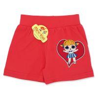 Pantaloni scurti fetite 3-7 ani, inimioara, rosu corai