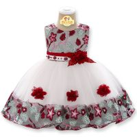 Rochie de ocazie fetite 9 luni-3 ani, fundita si trandafiri visinii