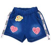 Pantaloni scurti moderni fete 3-14 ani, denim, inimioara roz