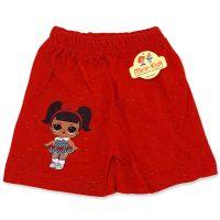 Pantaloni scurti fetite 1-6 ani, rosu cu picatele