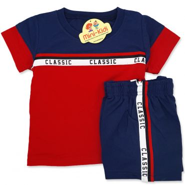 Compleu de vara copii 6 luni-5 ani, Classic, bleumarin-rosu