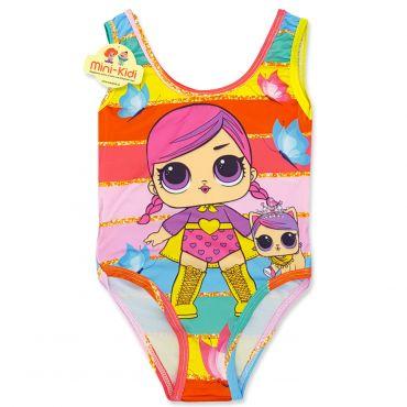Costum de baie fetite 9 luni-5 ani, dungi multicolore