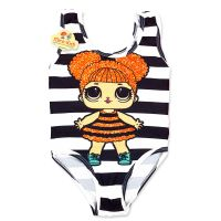 Costum de baie fetite 9 luni-5 ani, dungi alb-negru