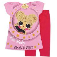 Compleu vara fetite 9 luni-3 ani, bluza cu colanti, roz