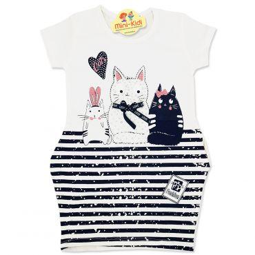 Rochita buzunare laterale fetite 2-8 ani, pisicute, crem