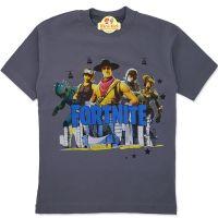 Tricou bumbac baieti 7-12 ani, Fortnite, turcoaz gri