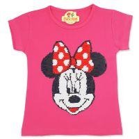 Tricou bumbac fete 1-6 ani, roz, paiete reversibile