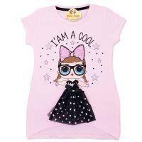 Bluza cool girl cu fustita neagra fete 4-8 ani, roz