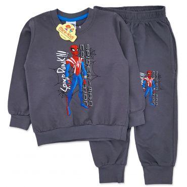 Trening baieti 3-8 ani, Spiderman, gri petrol