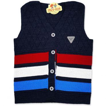 Vesta tricotata baieti 1-4 ani, dungi, gri petrol