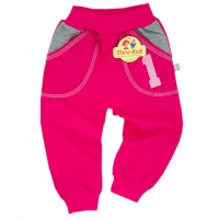 Pantaloni trening copii 6 luni-5 ani, cifre, fuchsia
