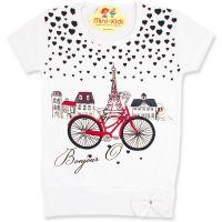 Bluza lunga fetite 1-5 ani, Paris, alb