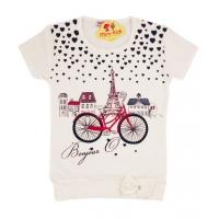 Bluza lunga fetite 1-5 ani, Paris, crem