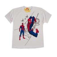 Tricou baieti 4-8 ani, Spiderman, alb