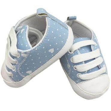 Pantofiori bebe 0-12 luni, inimioare, bleu