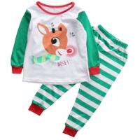 Pijamele copii 9 luni-3 ani, Rudolf, verde